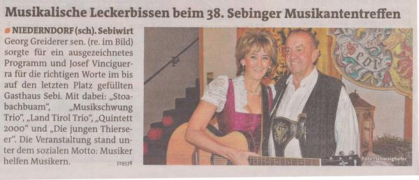 Musikantentreffen Sebiwirt Niederndorf Tirol Volksmusik Oberkrainer